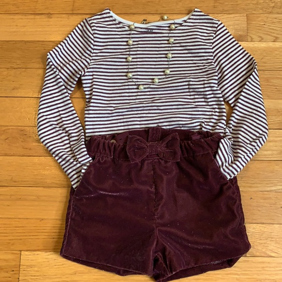 Girls Striped L/S Tee and Bow Shorts